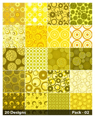 20 Yellow Circle Pattern Vector Pack 02