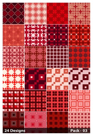 24 Red Seamless Square Pattern Background Vector Pack 03