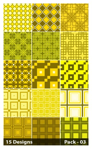 15 Yellow Seamless Square Pattern Background Vector Pack 03