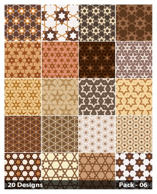 20 Brown Seamless Star Background Pattern Vector Pack 06