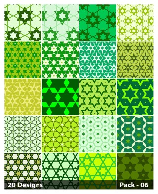 20 Green Seamless Star Background Pattern Vector Pack 06