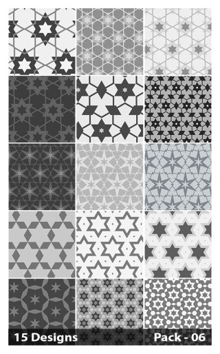 15 Grey Seamless Star Background Pattern Vector Pack 06