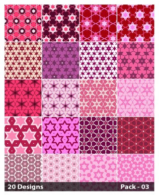 20 Pink Star Pattern Background Vector Pack 03