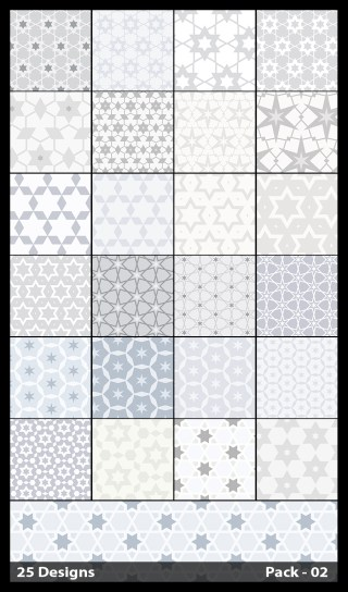 25 White Star Pattern Vector Pack 02