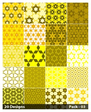 20 Yellow Star Pattern Background Vector Pack 03