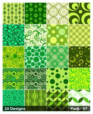 20 Green Seamless Circle Pattern Vector Pack 07