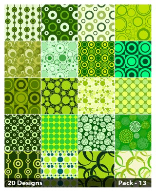 20 Green Geometric Circle Pattern Background Vector Pack 13