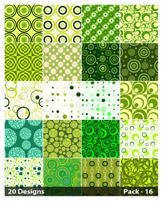 20 Green Seamless Geometric Circle Pattern Background Vector Pack 16