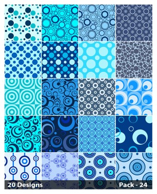 20 Blue Seamless Circle Background Pattern Vector Pack 24
