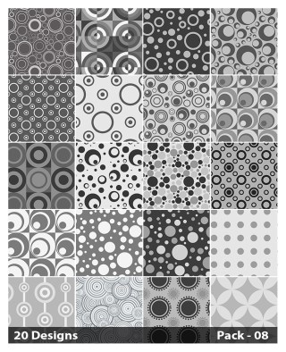 20 Grey Circle Pattern Background Vector Pack 08