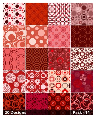 20 Red Seamless Circle Pattern Background Vector Pack 11