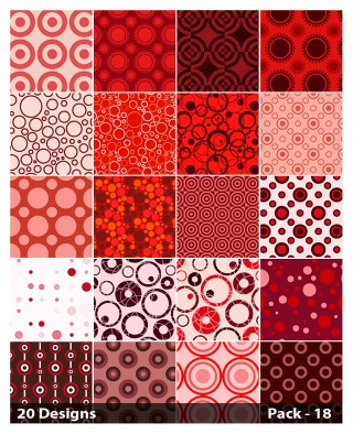 20 Red Seamless Geometric Circle Background Pattern Vector Pack 18