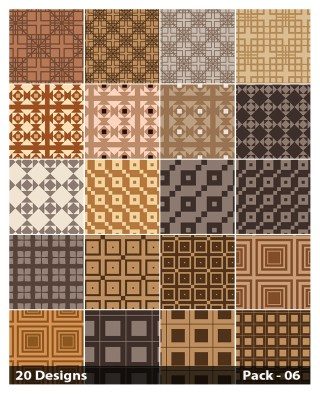 20 Brown Seamless Square Background Pattern Vector Pack 06