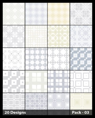 20 White Square Pattern Background Vector Pack 03