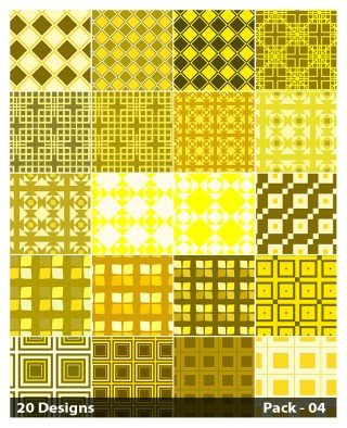 20 Yellow Square Pattern Background Vector Pack 04