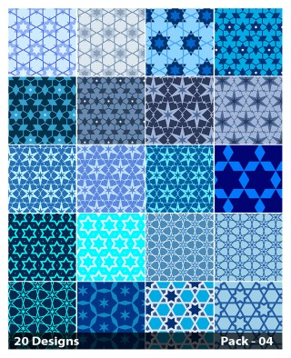 20 Blue Star Background Pattern Vector Pack 04