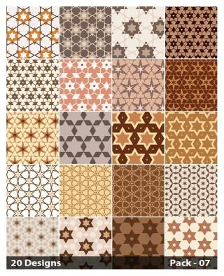 20 Brown Star Pattern Vector Pack 07