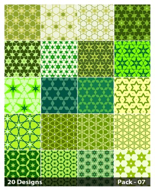 20 Green Star Pattern Vector Pack 07