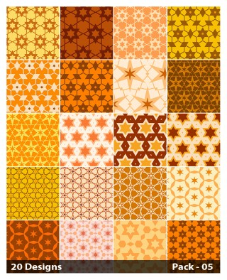 20 Orange Seamless Star Pattern Background Vector Pack 05