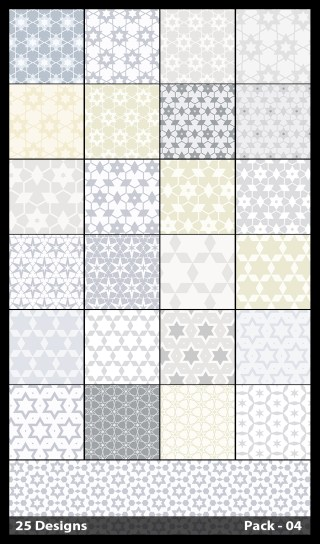 25 White Star Background Pattern Vector Pack 04