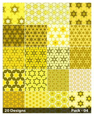 20 Yellow Star Background Pattern Vector Pack 04