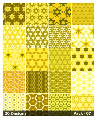 20 Yellow Star Pattern Vector Pack 07