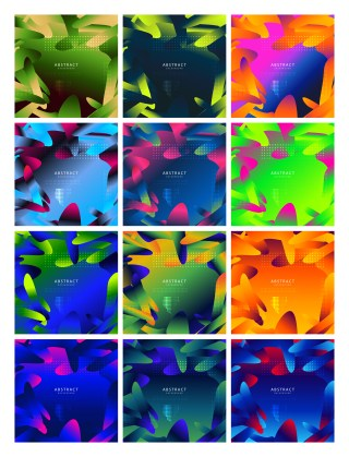 12 Fluid Liquid Color Shapes Composition Background Vector Pack