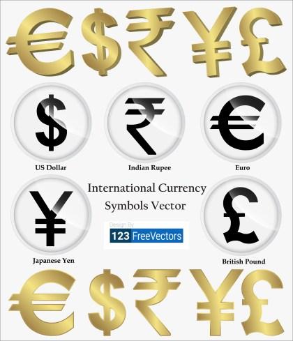 International Currency Symbols Vector
