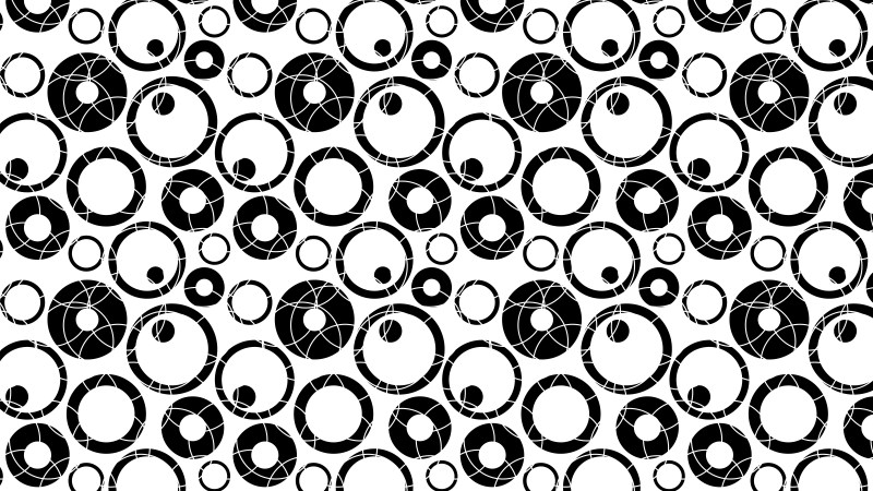 Black and White Seamless Circle Pattern Background Vector Art