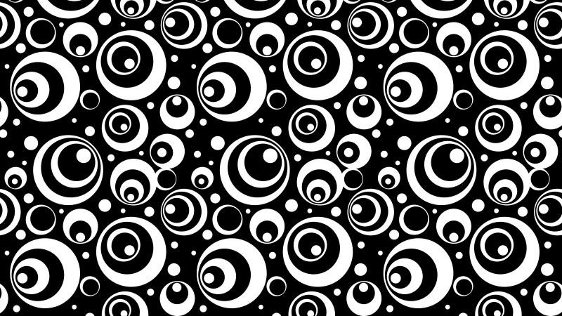 Black and White Seamless Geometric Circle Pattern Background Design