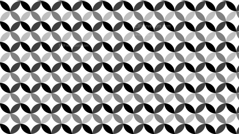 Black and White Seamless Overlapping Circles Pattern Background