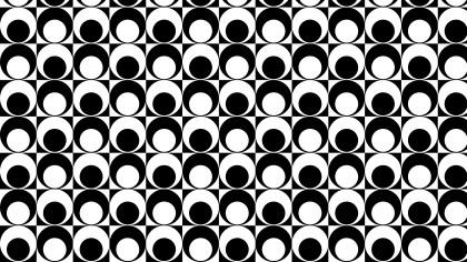Black and White Seamless Retro Circles Background Pattern