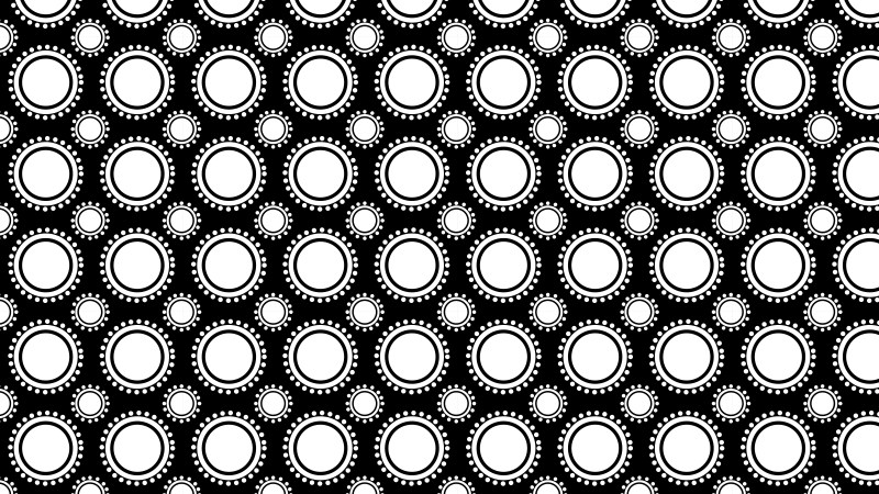 Black and White Seamless Geometric Circle Background Pattern Vector Illustration