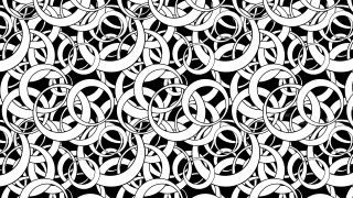 Black and White Seamless Overlapping Circles Pattern Vector Illustration