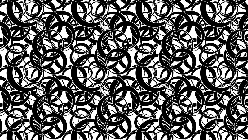 Black and White Seamless Overlapping Circles Pattern Background Vector