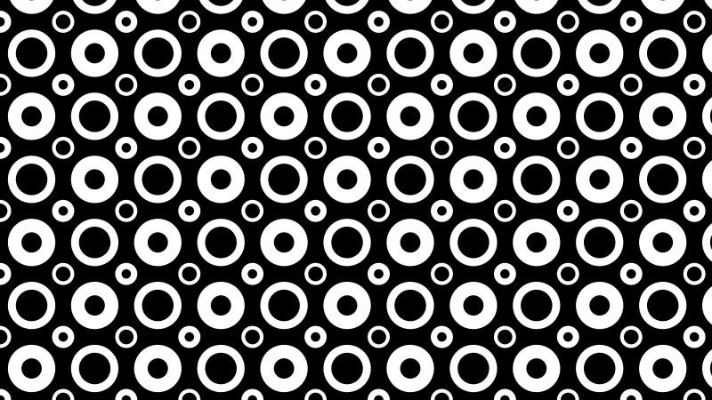 Black and White Seamless Geometric Circle Pattern Vector Art