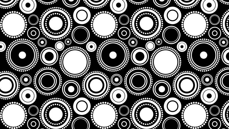 Black and White Seamless Geometric Circle Background Pattern Illustration