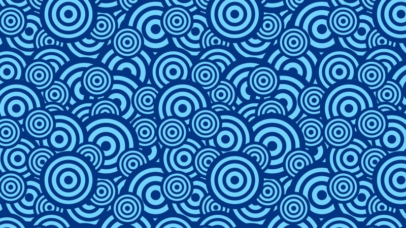 Blue Overlapping Concentric Circles Pattern Background