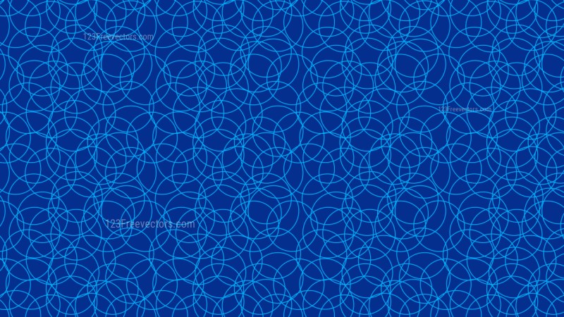 Cobalt Blue Seamless Overlapping Circles Pattern Vector Illustration
