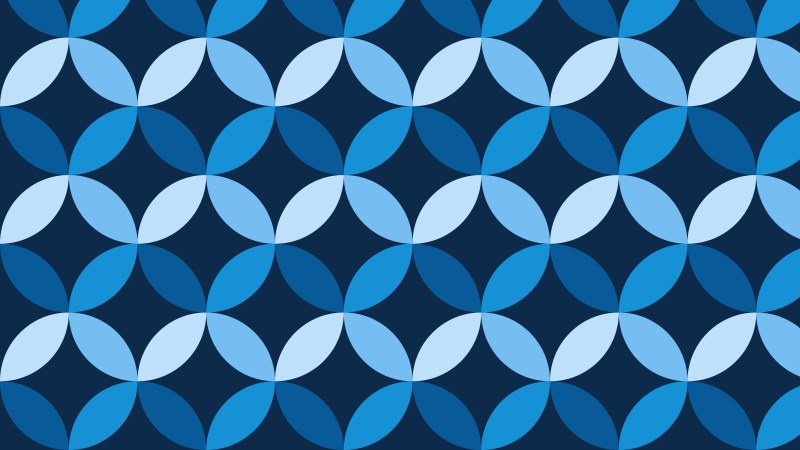 Dark Blue Seamless Overlapping Circles Pattern Background
