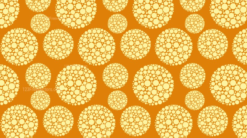 Orange Seamless Dotted Circles Pattern Background Vector Illustration