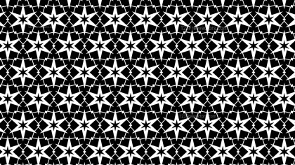 Black and White Seamless Star Background Pattern