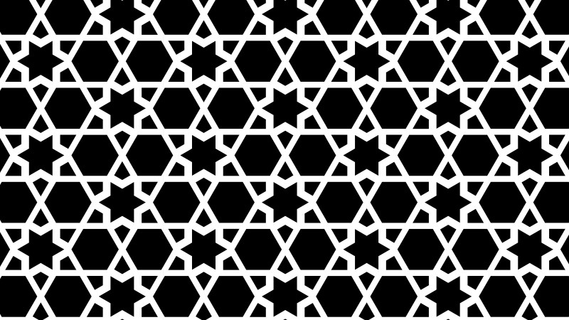 Black and White Seamless Star Pattern Background Vector Graphic