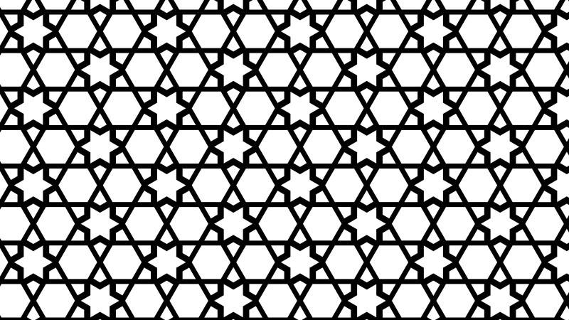 Black and White Seamless Star Background Pattern Vector Image