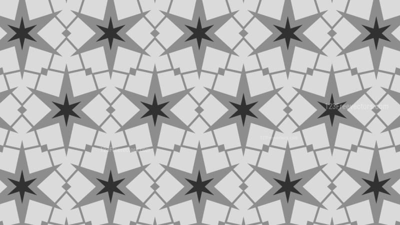 Black and Grey Seamless Stars Pattern Background Vector Graphic