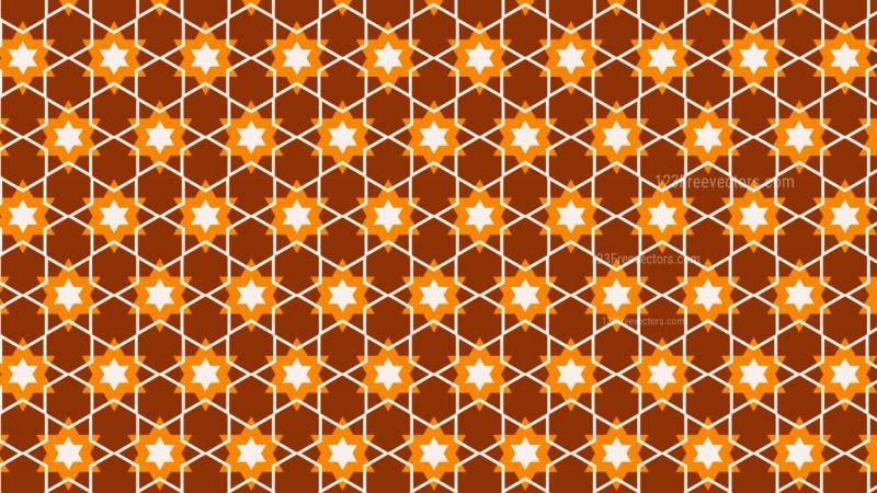 Dark Orange Seamless Stars Pattern Background Vector