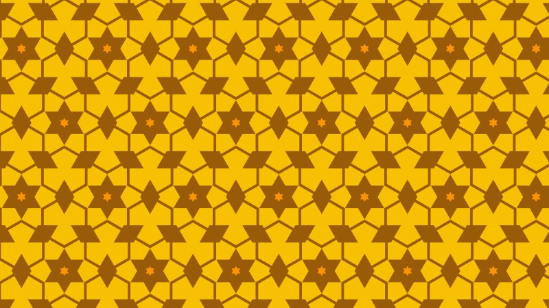 Amber Color Seamless Stars Background Pattern