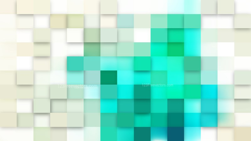 Beige and Turquoise Geometric Mosaic Square Background