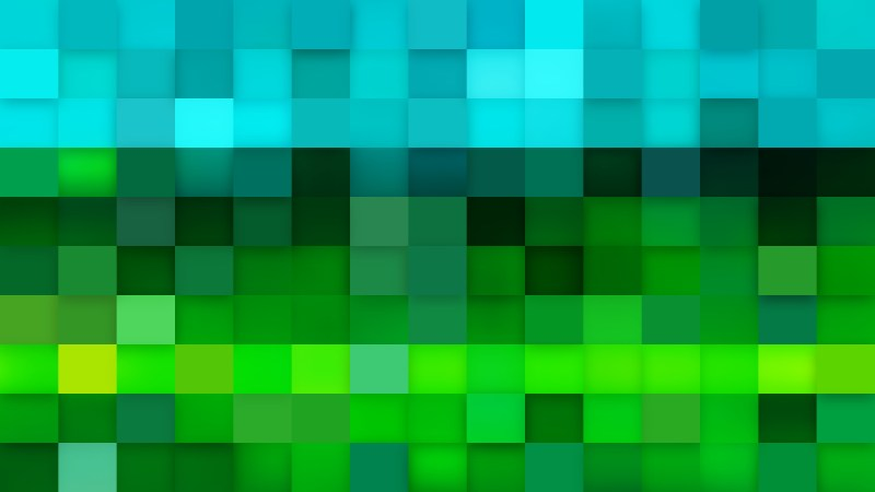 Abstract Blue and Green Square Pixel Mosaic Background