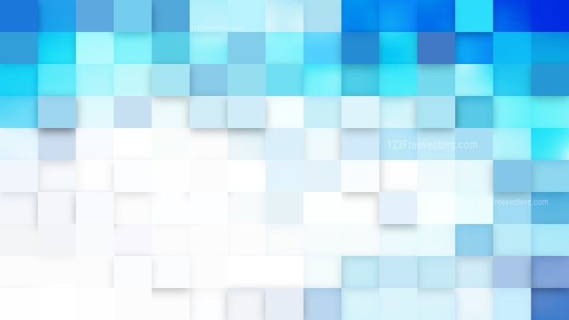 Blue and White Square Mosaic Tile Background Vector Illustration